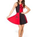 Summer Pleated Print Color Block Reversible Skater Dress
