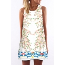 Women's Round Neck Sleeveless Digital Print Tank Top Mini Dress