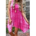Women's Tie Dye Racerback Mid Length Flowy Dresses