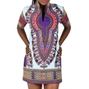 Women's African Vintage Color Block Dashiki Tribal Short Dress