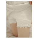 Women's Elastic Waist Crochet Lace Basic Summer Shorts
