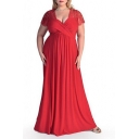 Women's Oversize Lace Patched Short Sleeve V-Neck Plain Maxi Dress