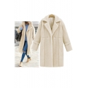 Chic Notched Lapel Single Popper Button Long Sleeve Plain Tunic Coat