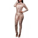 Women's Long Sleeve Sequins See Through Cocktail Club Jumpsuit Bodysuit