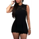Women's Casual High Waist Lace Round Neck Sleeveless Jumpsuit Rompers