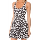 Cartoon Skulls Print Tank Skater Dress