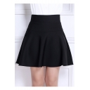High Waist Women's Chic Plain A-Line Skirt with Two Side Pockets