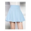 Chic Candy Color Plain A-Line Mini Skater Skirt