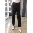 New Slim High Waist Plain Skinny Blazer Pants with Buttons