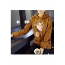 Fashion Hooded Cat Printed Long Sleeve Hoodie Sweatshirt with One Pocket