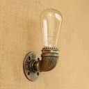 3.39 Inches Wide Pipe Design Minimalist Wall Sconces in Aged Bronze Finish