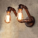2 Light Double Indoor Sconce Industrial Rust Pipe Wall Light