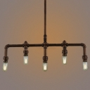 Vintage Metal Pipe 6-Light Industrial Island Pendant of Resoration Style