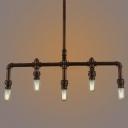 Vintage Metal Pipe 6-Light Industrial Island Pendant of Resoration Style