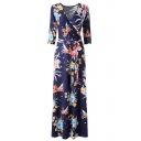 Sexy V-Neck Long Sleeve Belt Waist Floral Printed Color Block Maxi Dress