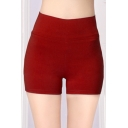 Fashion Stretchy Plain High Waist Shorts