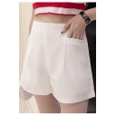 Women's High Waist A-Line Wide Leg Zip Back Casual Plain Shorts