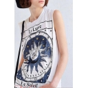 Women's Cool Round Neck Sleeveless Sun Print Casual Cotton Tank Top