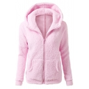 Women's Fashion Hooded Zip Placket Long Sleeve Winter's Fur Coat