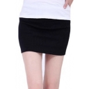 Women's Candy Color Plain Mini Bodycon Skirt