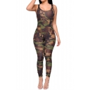 Sexy Camouflage Printed Sleeveless Scoop Neck Tank Bodycon Jumpsuits
