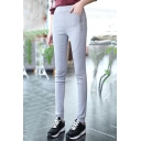 Women's Basic Oversize Casual Zip Side Plain Skinny Pants