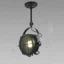 Matte Black Single Light Industrial Lighting Semi Flush Light with Cage Shade