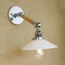 Wood Featured Single Light Industrial Chrome Wall Sconce with White Glass Shade