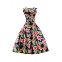 Retro Style Chic Elegant Floral Printed Sleeveless Color Block A-Line Dress