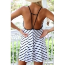 Sexy Strappy Back V-neck Spaghetti Straps Striped Midi Cami Dress