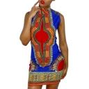 Women African Print Dress Casual Straight Bohemia Sleeveless Mini Dresses