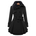 Fashion Slim Fur Lapel Double Breasted Belt Waist Swing Hem Plain Tunic Coat