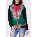 Women's Fashion Zip Placket Long Sleeve Tribal Print Baseball Coat