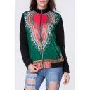 Women's Fashion Zip Placket Long Sleeve Tribal Print Baseball Coat