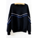 Women's Round Neck Long Sleeve Color Block Pullover Sweatshirt