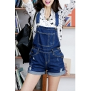 Women's Straps Turn Up Hem Plain Ripped Denim Shorts Overalls