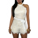 Women's Chic Lace Overlay Off-shoulder Party Romper