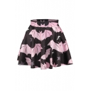 Cute Bat 3D Printed Color Block Mini Skater Skirt