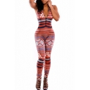 Women V-Neck Sleevelss Printed Thai Tribal Bodycon Jumpsuit