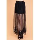 Sexy Lace Mesh Patchwork Elastic Waist Plain  Maxi Skirt