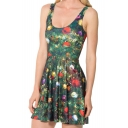 Christmas-tree Ornaments Print Tank Skater Dress