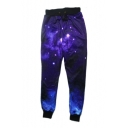3D Galaxy Printed Drawstring Waist and Cuffs Jogger Sport Pants