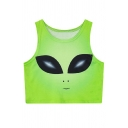 Cute Alien Printed Sleeveless Round Neck Cropped Tank Top