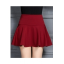 Popular Women's Plain A-Line Mini Skater Skirt