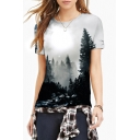 Women's Digital Forest Print Round Neck Short Sleeve Basic T-Shirt