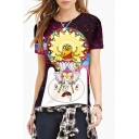 Women's Fashion Digital Cartoon Print Round Neck Short Sleeve Basic T-Shirt