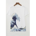 Women's Simple Wave Printed Round Neck Short Sleeve Tee Top