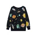 Fashion Star Print Round Neck Long Sleeve Oversize Loose Sweatshirt