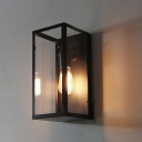 Glass Shade Rectangle Metal Wall Mounted Lighting Industrial Sconce in Black
