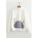 Women's High Neck Long Sleeve Fox Patched Casual Basic Sweatshirt